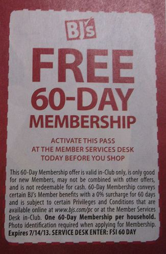 BJ WHOLESALE FREE ONE DAY PASS