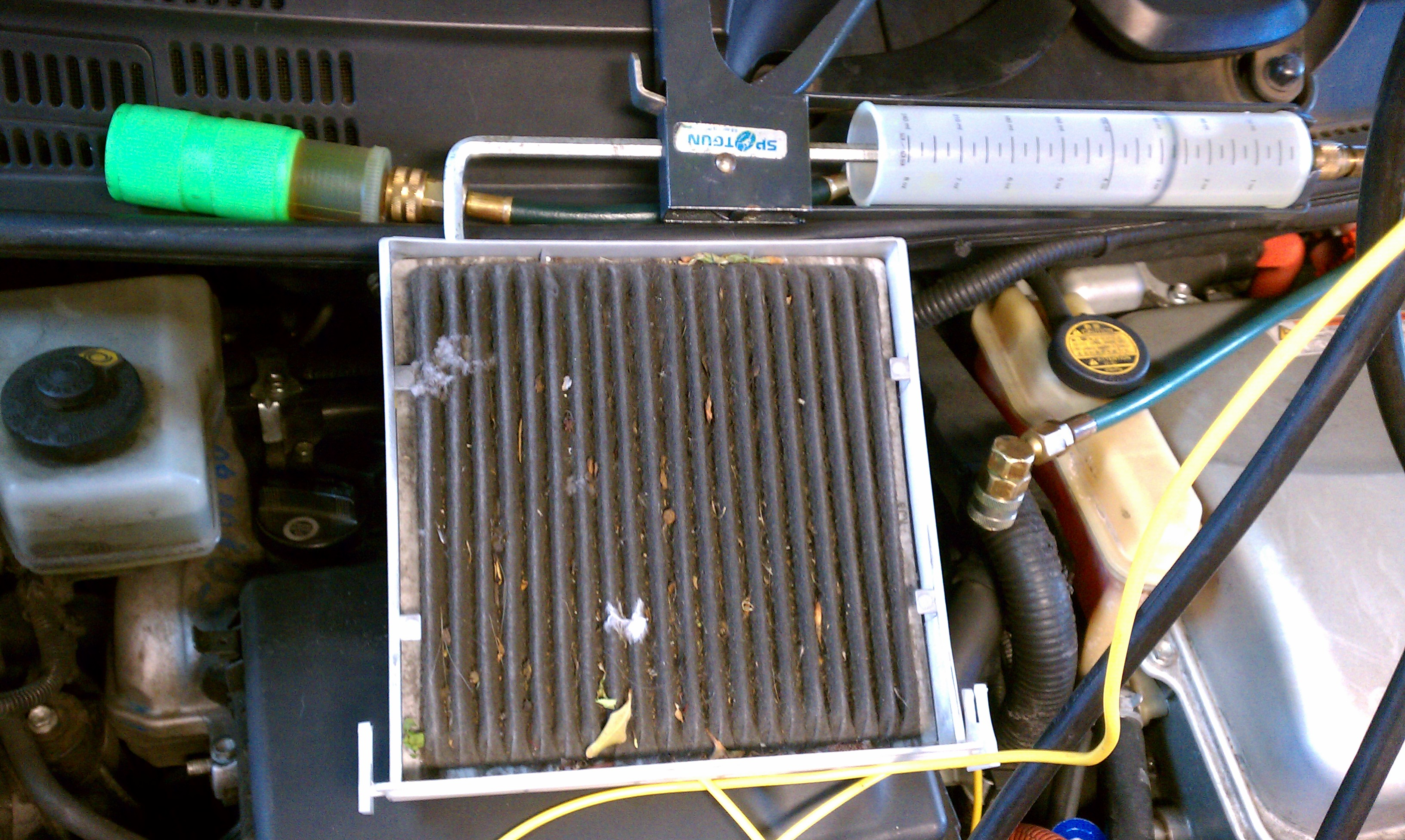 Sound like the cabin air filter you can see a photo of one in my photo album on my page i was going to insert a photo of one here but priuschat