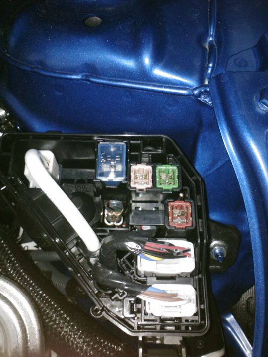 Jump terminals on a prius c under the hood there or
