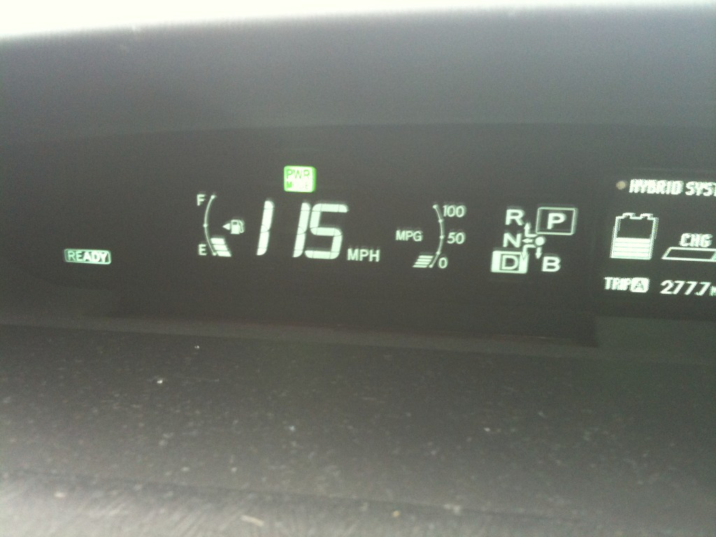 The real top speed of the 2010 prius. (picture)   PriusChat