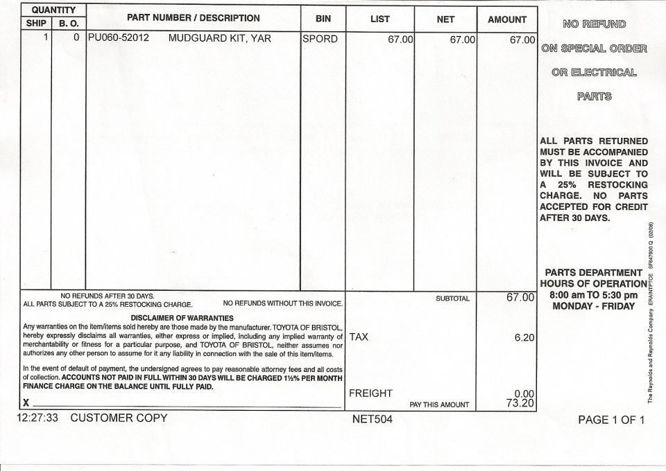 Fillable Invoice Template Excel Installed Mudflaps On Rear  Priuschat Track Certified Mail Return Receipt Requested Pdf with What Does Invoice Excel They Are For  Yaris And With Very Little Work Fit Great Attached Are  Photos Of Modifications I Did  Part Number And Finished Work Residential Lease-rental Agreement And Deposit Receipt Excel