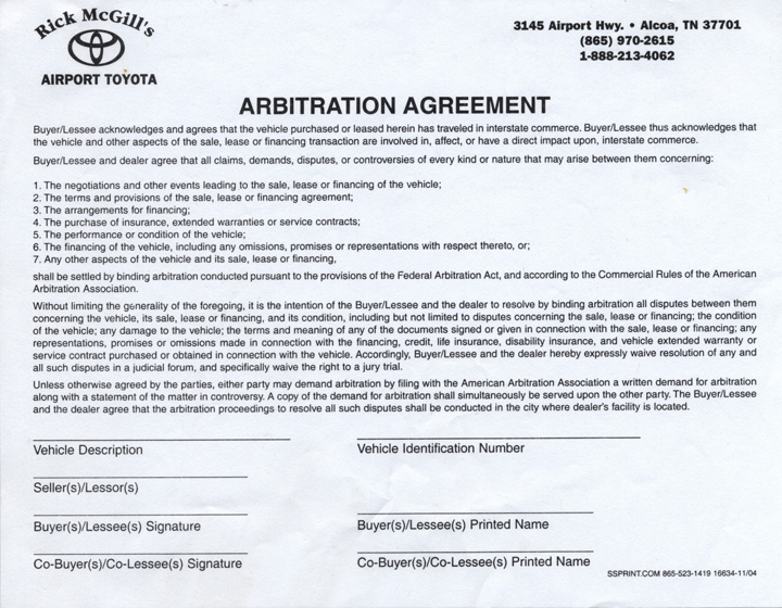 Were You Required To Sign An Arbitration Agreement Form When You
